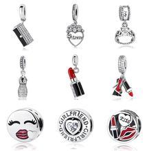 Подарок на день Святого Валентина 925 стерлингового серебра браслеты с подвесками с украшением в виде кристаллов принцессы висит на высоком ...