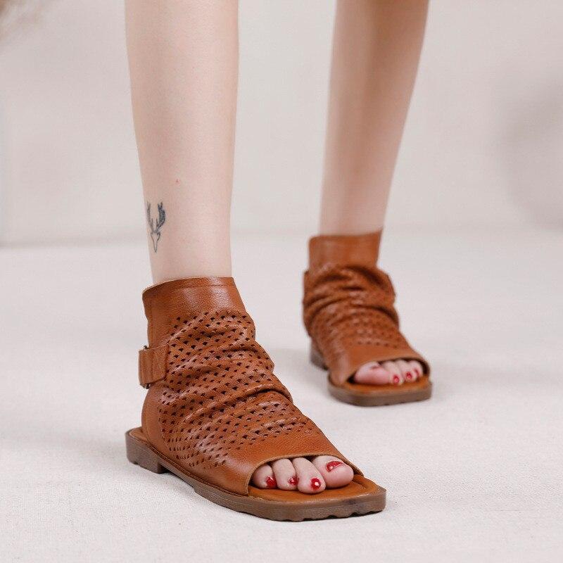 Original 2020 Summer New Gladiator Sandals For Woman Handmade Retro Hollow Peep Toe High Top Flat Layer Cowhide Female Cool Shoe (7)