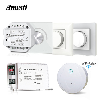 AC Triac Dimmer Wifi RF 2.4G Wireless Remote Control 110V 230V 220V LED Dimmer Switch Smart Push Knob Rotary Panel for LED Lamps ac09 01j rotary switches band switch cnc panel knob switch