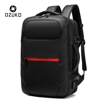 OZUKO Expandable Men's Backpack PVC Waterproof USB Charging Male Backpack 15.6 inch Laptop Backpacks Casual Travel Bag mochila frn business usb charging bag men 17 inch laptop backpack waterproof high capacity mochila antitheft casual travel backpack bag