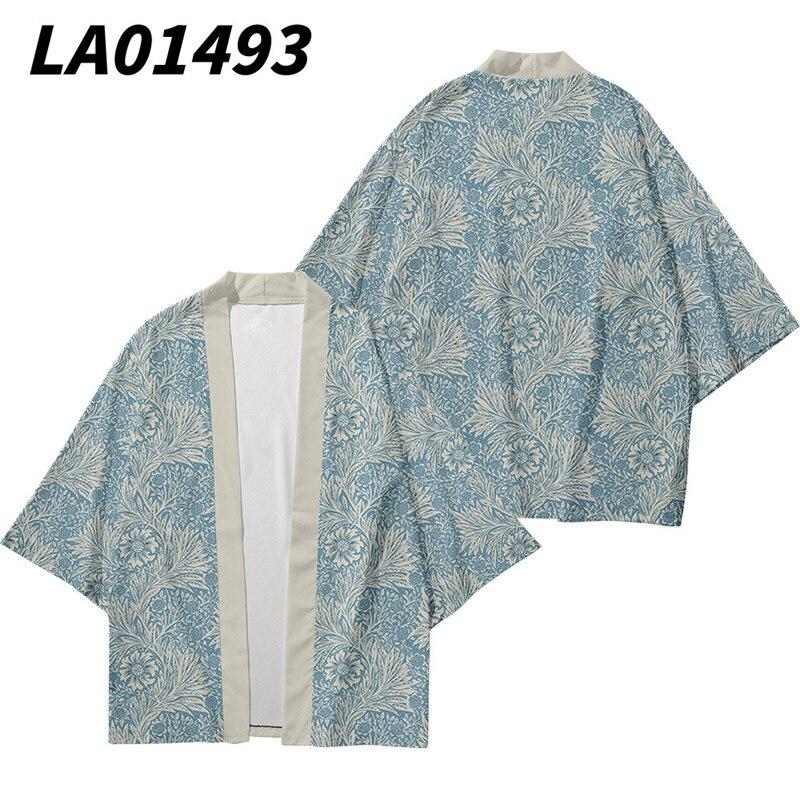 Summer Floral Printed Kimono Cardigan Couple Women Men Japanese Traditional Casual Loose Coat Pants Set Asian Clothes Harajuku