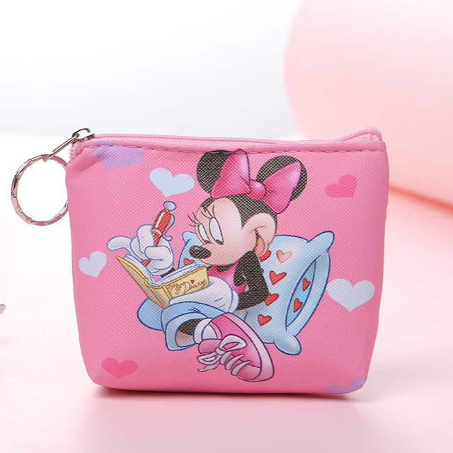 Disney Princess Children Cartoon Plush  Purses Coin Pu Mermaid Frozen Girl Bag Coin Elsa Stitch Boy Mickey Clutch Plush Wallet