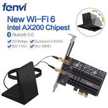 Dual Band 2400Mbps Wireless PCI-E Wifi Adapter For Desktop PC With Intel Wi-Fi 6 AX200 Bluetooth 5.0 802.11ax/ac 2.4G/5G Card(China)