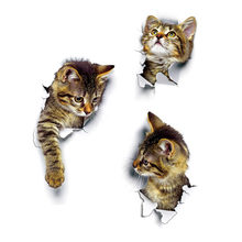 Vivid Cats 3D Wall Sticker Bathroom Toilet Living Room Decoration Animal Vinyl Decals Art Sticker Wall Poster(China)