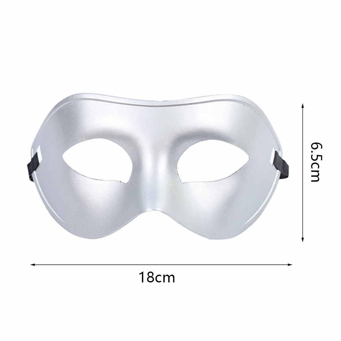 Pria Setengah Wajah Dicat Topeng Topeng Halloween Pesta Prom Masker Aksesoris Masker Mata Pria Jazz Bola Masker