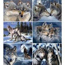 HUACAN – peinture de diamant 5D de loup de neige, broderie d'animaux, mosaïque ronde complète, décoration de maison, couture