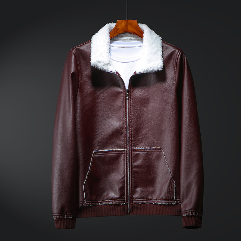 MEN'S Leather Coat Men's Casual Leather Jacket Slim Fit AliExpress Youth Coat Handsome Trend Locomotive Fold-down Collar-Shaped