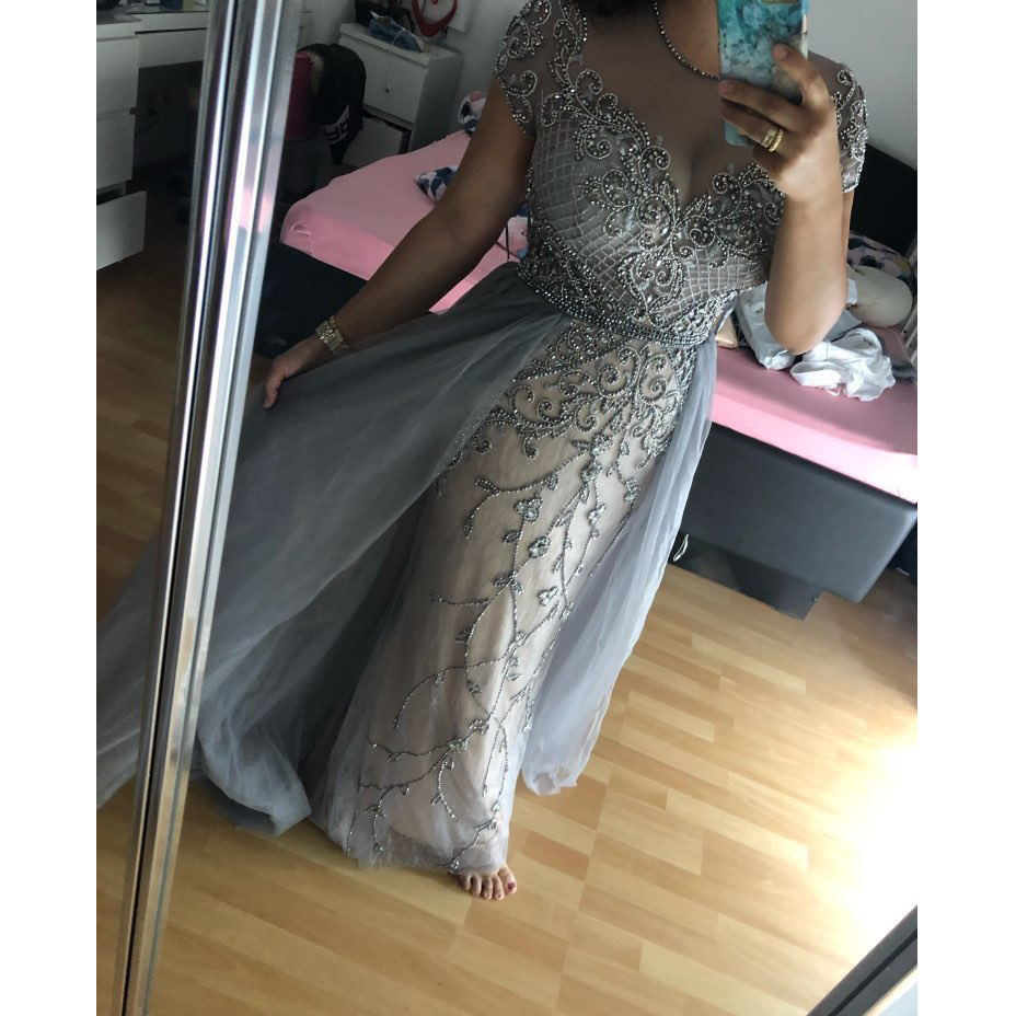 vestido de festa longo Gorgeous Formal Gowns Crystals Bling robe de soiree   Evening     Dresses   Arabian   Evening     Dress   Sheer Sleeve