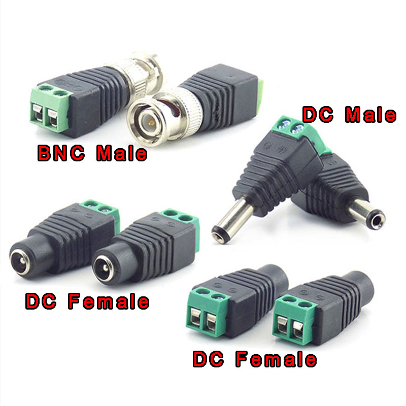 1/2/10pcs 12V DC Male DC Female Plug BNC Male Connector Plug CCTV DC Power Cable 2.1 X 5.5mm BNC Adapter For Led Strip Light