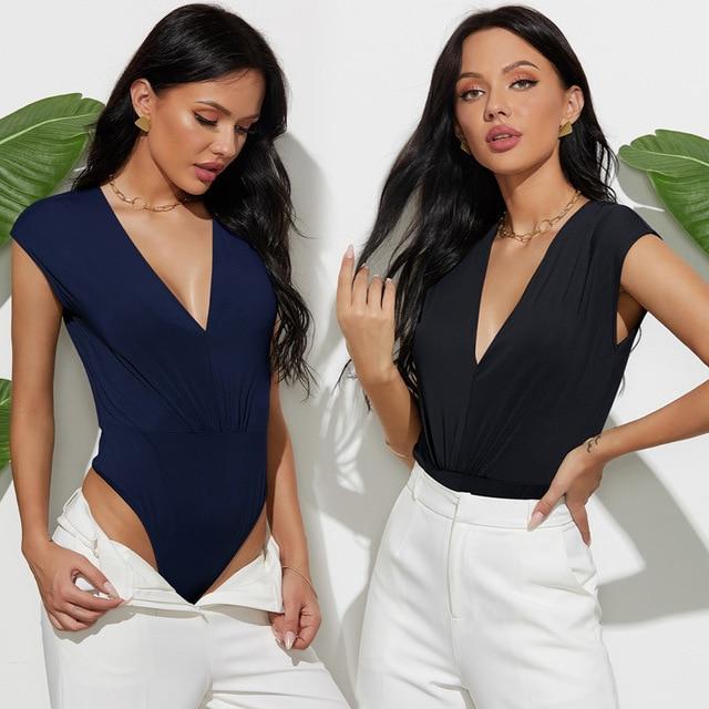 Sexy Body Suits for Women Plunge Neck Solid Bodysuit Women Summer Black Deep V Neck Sleeveless Skinny Bodysuit 1