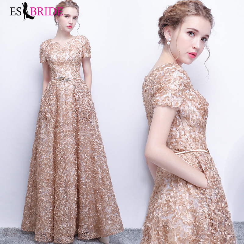 Long Evening Gowns 2019 New Arrival Elegant A-Line Casual Lace Short Sleeve Dress Party Formal Dresses Robe De Soiree ES30264