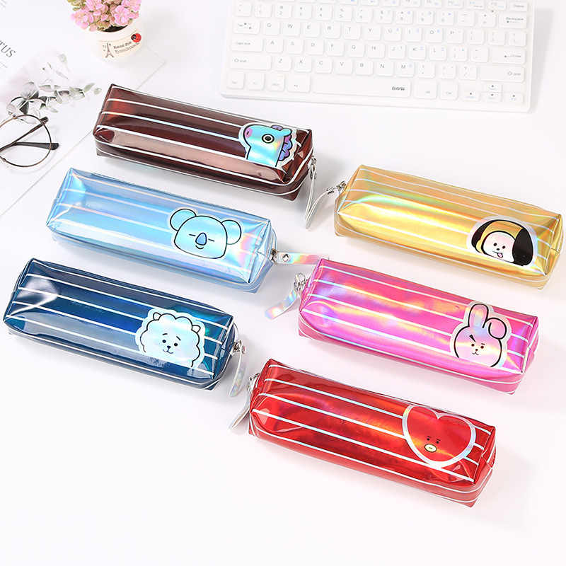 Kawaii Pencil Case Cartoon laser Gift Estuches Pencilcase School Supplies Stationery  pen bag