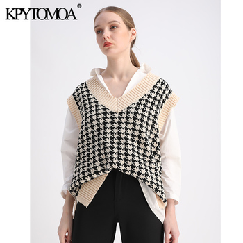 KPYTOMOA Women 2020 Fashion Oversized Houndstooth Knitted Vest Sweater Vintage Sleeveless Side Vents Female Waistcoat Chic Tops