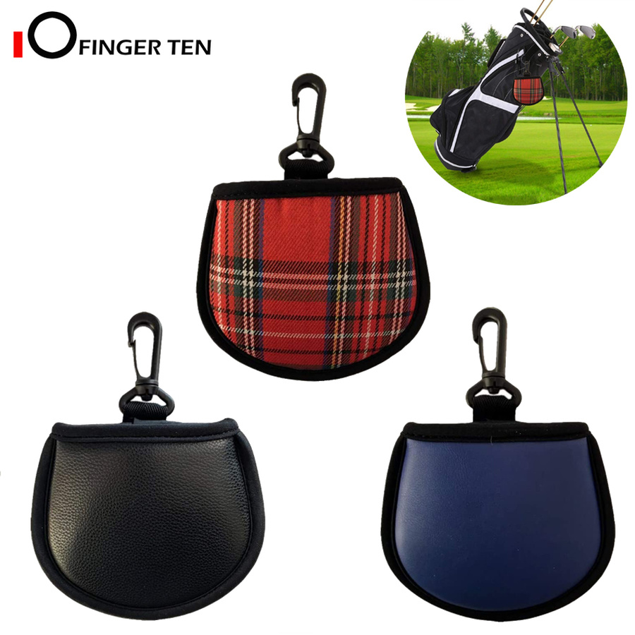 New Design Golf Ball Cleaner Pouch Bag With Clip Pu Leather Cleaning Pocket Washer Black Navy