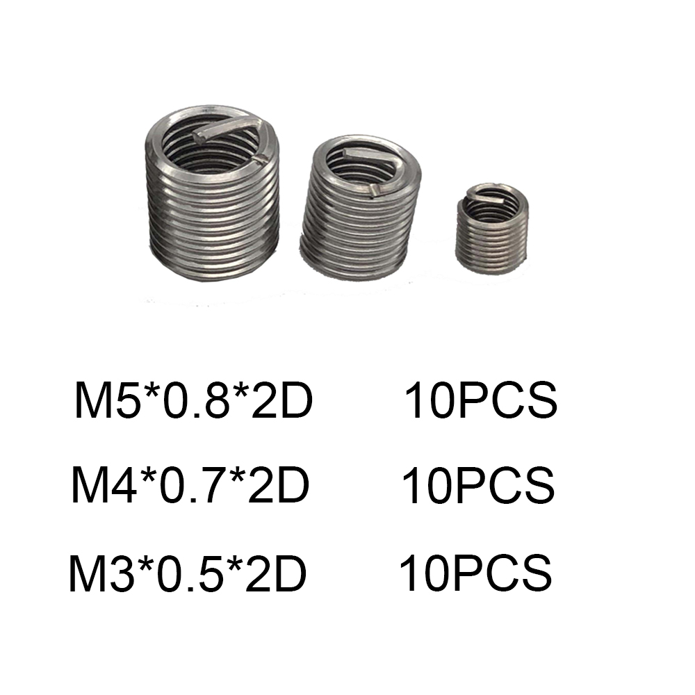30pcs M3 M4 M5 *2D Thread Repair Kit Set Threaded Insert Stainless Steel Thread Restoration Helicoil For Hardware Repair Tools