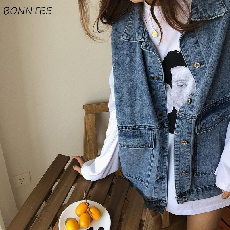 Vest Women Denim Oversize Streetwear Students Vintage Clothes Womens Waistcoats Black Casual Pockets Single Breasted Ulzzang