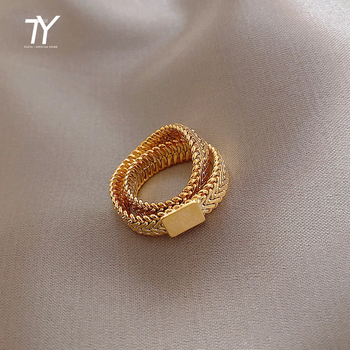 Design Sense Gold Snake Bone Chain Double Layer Rings For Woman 2021 New Korean Jewelry Party Fashion Girl's Unusual Gothic Ring 1