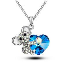 Модное роскошное милое ожерелье коала с голубым цирконием женская