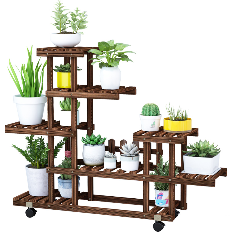 Balcony Wood Flower Shelf Indoor Living Room Home Rack Floor Fleshy Flower Pot Rack Simple Decorative Frame