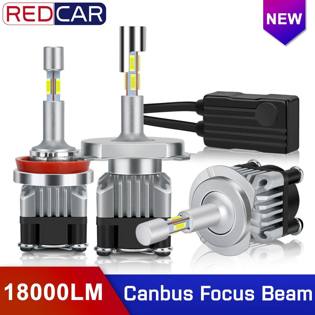 2pcs Mini Canbus H4 H7 LED Car Headlight 12V 18000LM Error Free H1 H11 HB3 9005 Hb4 9006 360° Focus Beam Lighting Auto Headlight