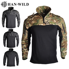 HAN WILD Camouflage Hunting Clothes Tactical Frog Suits Military Uniform Paintball Airsoft Sniper Combat Shirt&Pants Jersey
