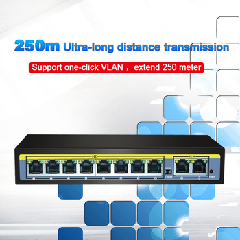 10 Port 52V Network Switch  Ethernet Fast Switch 100Mbps 8 Port POE + 2 Uplink Port Switch For IP Camera/Wireless AP/POE Camera 2g8fep 8 port unmanaged poe plus switch with 8 port poe power over internet for ip cameras