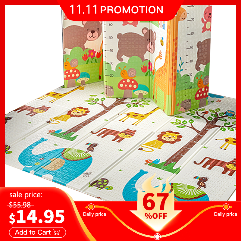 Hipac Baby Play Mat XPE Foldable With Bag Educational Children's Carpet Kids Rug Activitys Games Toys for Fence Forest Puzzle|Play Mats| - AliExpress