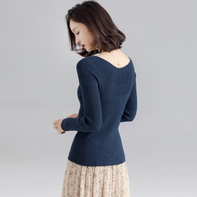 2020 WOMEN  NEW Simple Temperament  Autumn And Winter Sexy Silk Bottoming Sweater Sweater Women