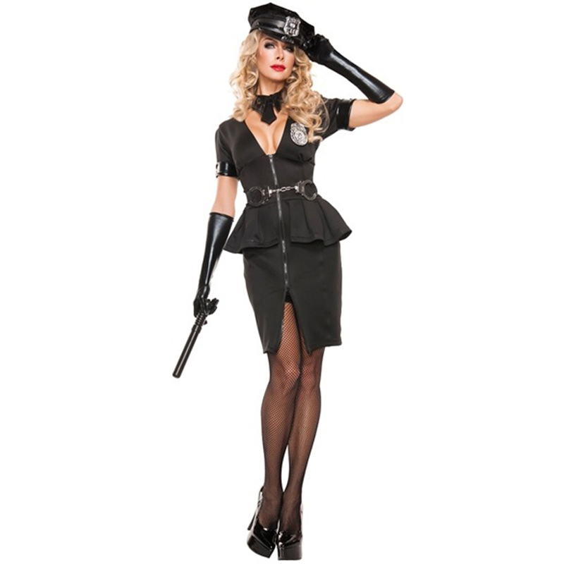 Women Deep V Neck Blue Police Costumes Adult Policewomen Jumpsuit Cosplay Female Cop Officer Sheriff Halloween Costume image