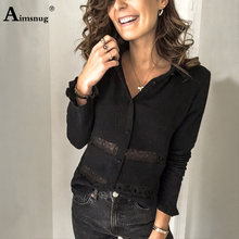 Plus Size 4xl 5xl Single-Breasted Female Tops Splice Lace Blouse Tops Solid Black White Elegant Women Casual Shirt Lady Clothes
