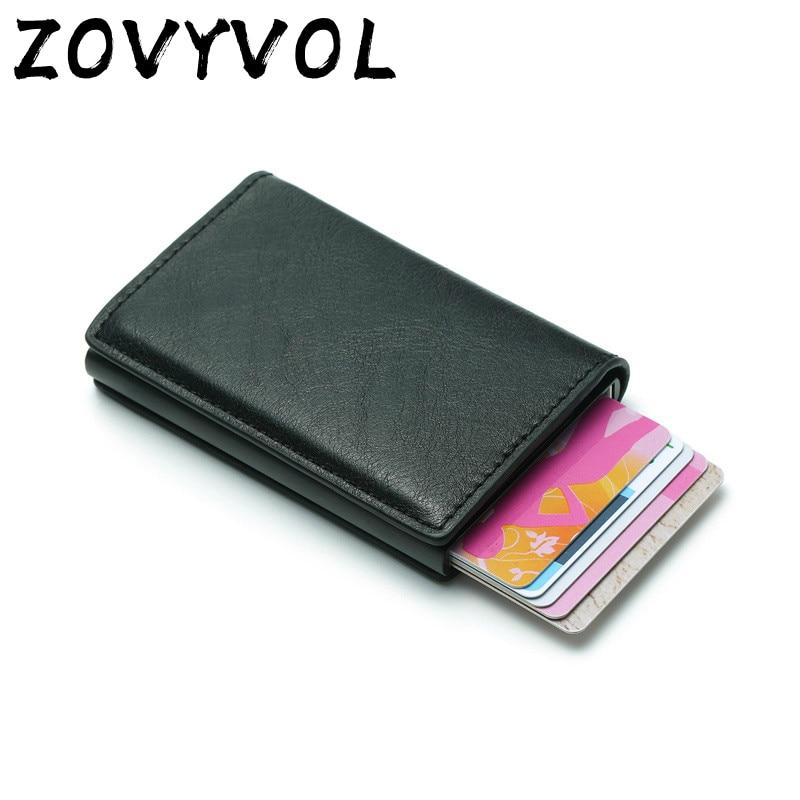 ZOVYZOL Rfid Smart Wallet Credit Card Holder Metal Thin Slim Men Wallets Pass Secret Pop Up Minimalist Wallet Small Black Purse