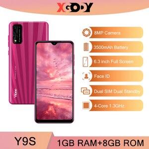Смартфон XGODY 3G с камерой 8 Мп, Android, 1 ГБ, 8 ГБ, 3500 мАч, 6,3 дюйма, 19:9 разблокировки, две sim-карты, распознавание лица, WiFi, GPS, Y9s