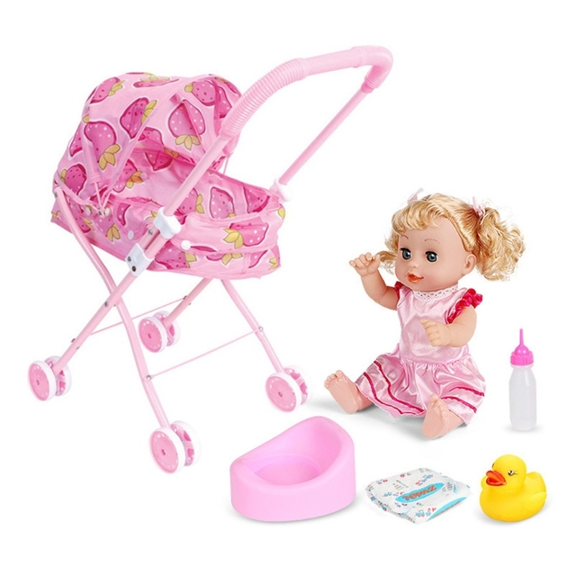 Cute Baby Stroller Trolley Doll for Toddler Pretend Play Toy Pram Pushchair Gift A2UB 1