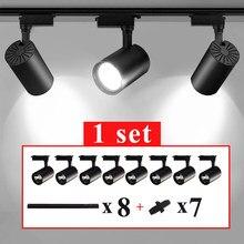 Diodo emissor de luz da trilha holofotes 220v cob trilha lâmpada de parede 12w 20 30 40 alumínio trilha trilho dispositivo elétrico iluminação para cozinha casa loja