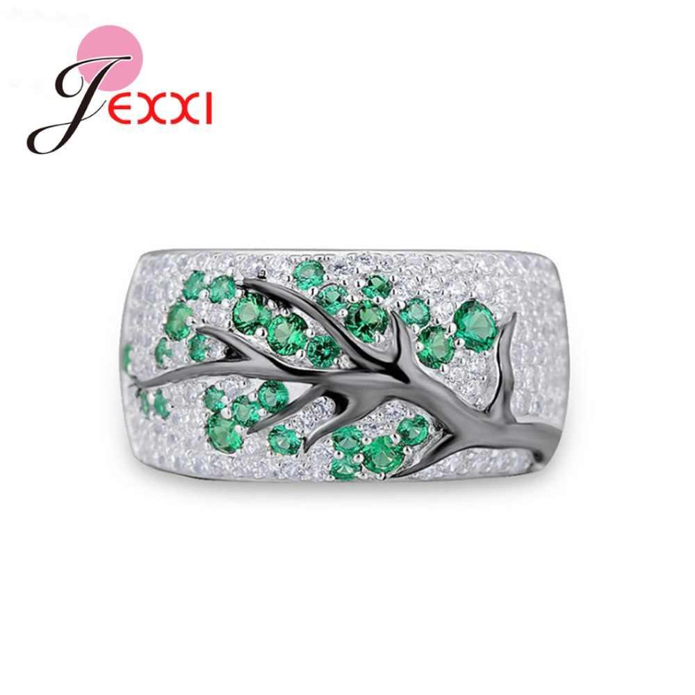 Neueste Neue Trendy 925 Silber Baum Zweig Design Breite Band Ringe für Männer Frauen CZ Kristall Unisex Hochzeit Engagement Zubehör