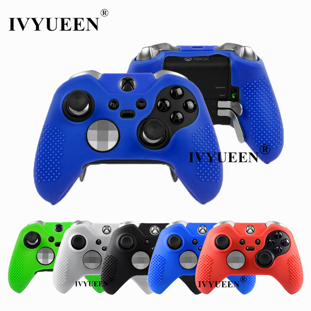 IVYUEEN New Studded Anti-slip Silicone Rubber Cover Skin Case For XBox One Elite Controller With 2 Thumbsticks Caps Grips