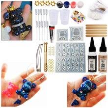 Bricolage résine époxy gommeux ours avec lettres moules bijoux fabrication trousse à outils avec résine AB colle porte clés Kit bricolage cadeau