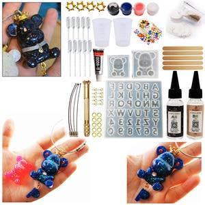 Image 1 - DIY Epoxy Harz gummibärchen mit buchstaben Formen Schmuck Machen Tool Kit Mit Harz AB Kleber schlüssel kette kit DIY geschenk