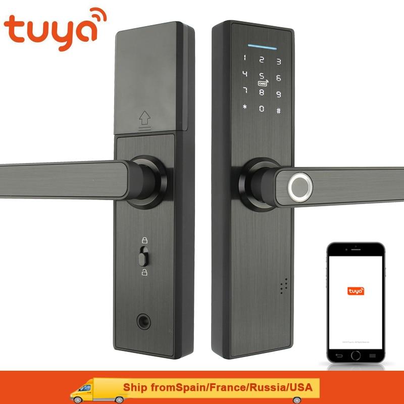 Tuya Wifi Lock Fingerprint Lock Smart Card Digital Code Electronic Door Lock Home Security Mortise Lock Wire Drawing Panel