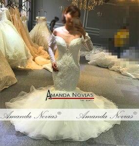 Image 4 - Vestido de novia de sirena sin hombros, mangas largas, nupciales, 2020