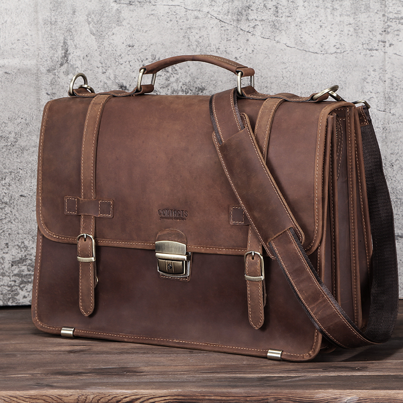CONTACT'S Men's Bag Crazy Horse Leather Briefcase Men Business Bag For 14 6
