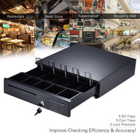 Heavy Duty Electronic Cash Drawer Box Case Storage 5 Bill 5 Coin Trays Check Entry Support Auto Manual Open Key lock RJ11
