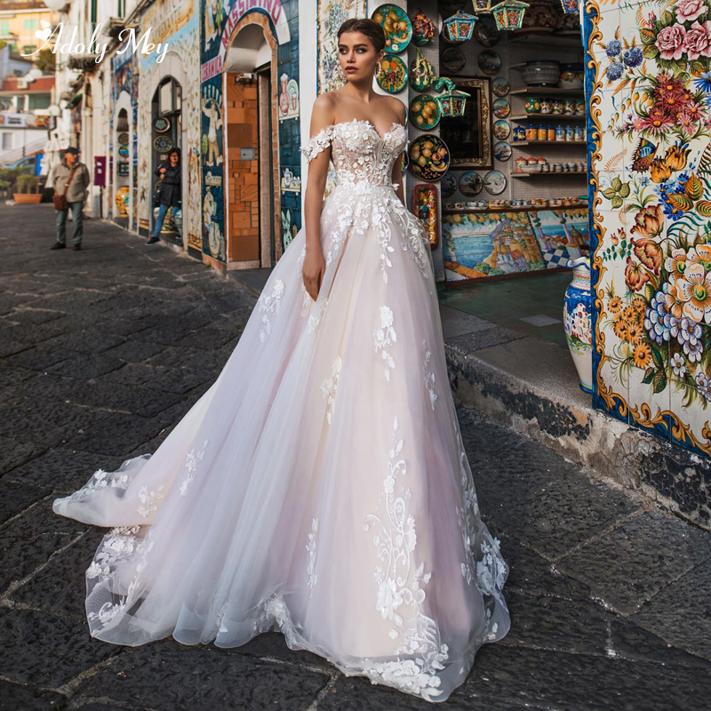 Adoly Mey New Arrival Charming Boat Neck Lace Up A-Line Wedding Dresses 2020 Luxury Appliques Court Train Princess Bridal Gown