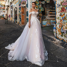 Adoly Mey New Arrival Charming Boat Neck Lace Up A Line Wedding Dresses 2020 Luxury Appliques Court Train Princess Bridal Gown