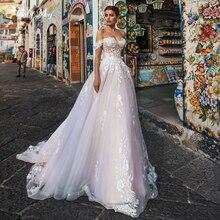 Adoly Mey recién llegado encantador cuello barco encaje hasta A-Line vestidos de novia 2020 apliques de lujo corte tren princesa vestido de novia