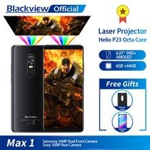 Blackview最大 1 ワイヤレスプロジェクター携帯電話 6.01 amoled 4680 3000mahのアンドロイド 8.1 6 ギガバイト + 64 ギガシアタープロジェクタースマートフォン
