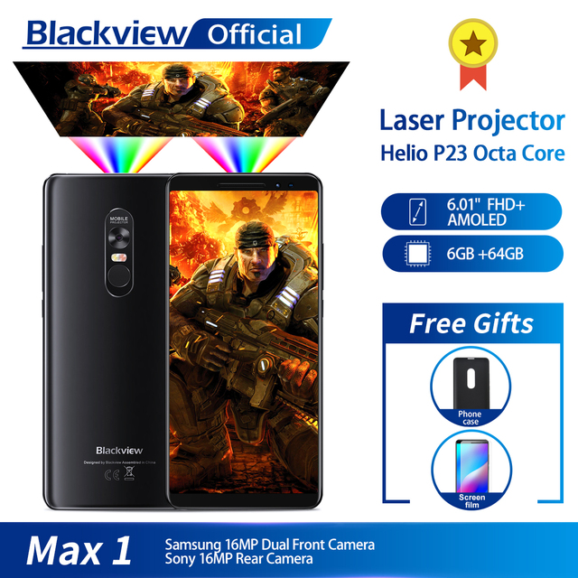 $ US $349.99 Blackview MAX 1 Wireless Projector Mobile Phone 6.01 AMOLED 4680mAh Android 8.1 6GB+64GB Home Theater Projectors Smartphone