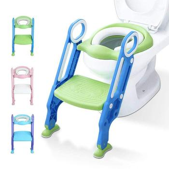 Folding Baby Potty Kids Toilet Training Seat  with Safe Adjustable Ladder Portable Urinal Potty Training Seat for kids baby potty seat ladder children toilet seat cover kids toilet folding infant potty chair training portable