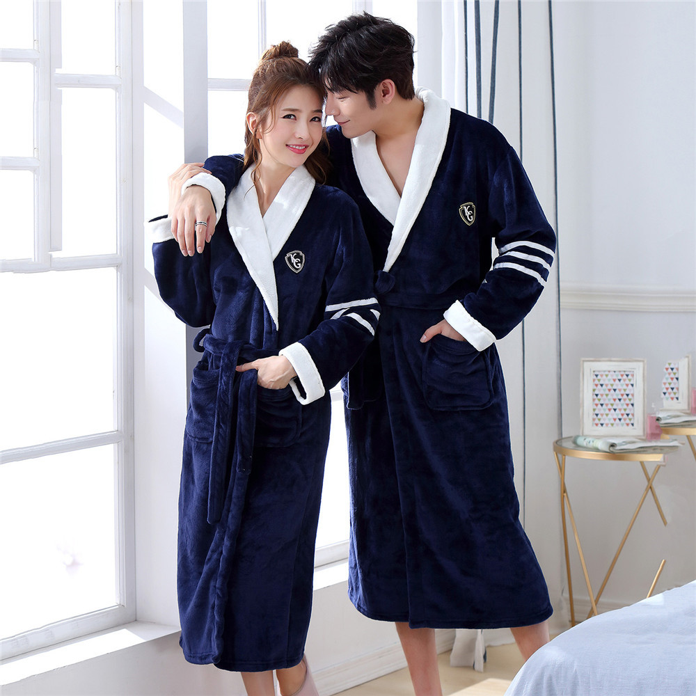 Padded Flannel Warm Robe For Couple Long Sleeve V-neck Nightwear Lounge Intimate Lingerie Loose Thicken Kimono Bathorbe Gown