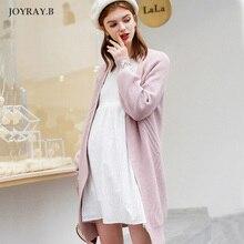 Свободное длинное пальто с вышивкой для беременных женщин; осеннее пальто с длинными рукавами; вязаное пальто-кардиган; зимняя одежда для беременных JoyRay.B